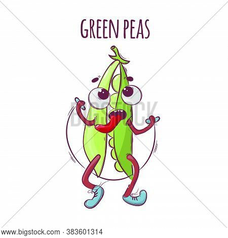 Rope Green Peas Sport Vegetable Cartoon Health Nutrition Nature Hand Drawn Vector Illustration For P