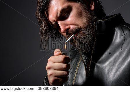 Bearded Man Smoke The Cigarette. Stylish Hipster With Lighter And Cigarette. Cigarette Smoke. Sensua