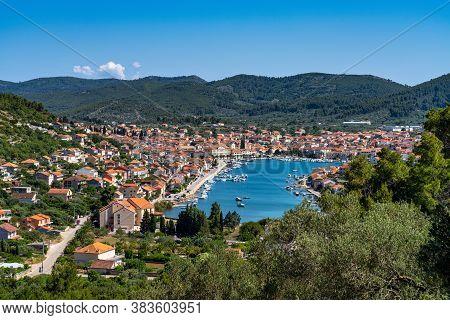 Vela Luka Is A Picturesque Coastal Town On Korcula Island, In Dalmatia, Croatia, Europe