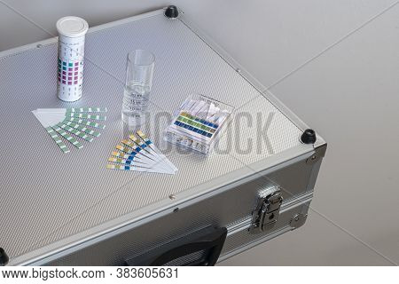 Metal Case With Equipment For Water Analysis, Ph And Total Water Hardness Test Strips With A Graduat