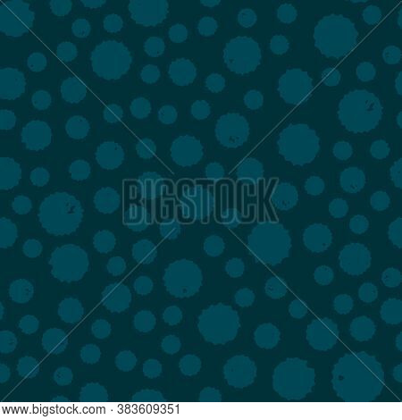 Dotted Vintage Seamless Pattern On Cyan Blue Background For Fabrics, Scrapbooking, Wrapping.