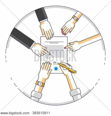 Businessman Signs Contract Paper Document Or Bank Customer Write A Sign On Financial Form Of Money C