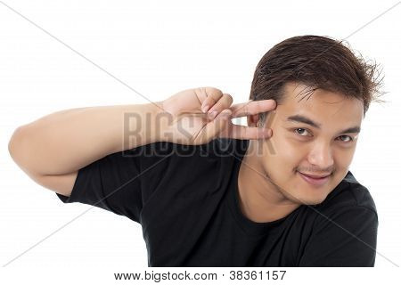Happy Man With A Peace Sign