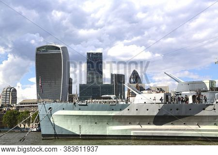 London, Great Britain -may 23, 2016: Hms Belfast, World War Ii Museum With 9 Decks And Naval Weapons