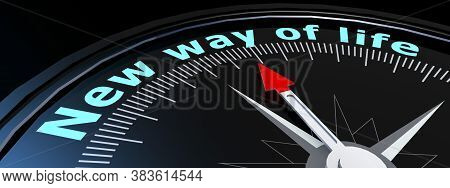 Compass With New Way Of Life Word, 3d Rendering