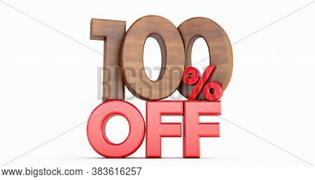 100% Off. Wooden One Hundred Percent. Wooden One Hundred Percent On White Background. 3d Render.