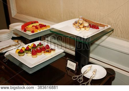 Buffet In A Fancy Restaurant Or Hotel. Steam Table With Skewers And Sausages