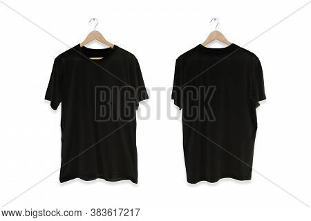 Black Blank Front And Back T-shirt Isolated On White Background.