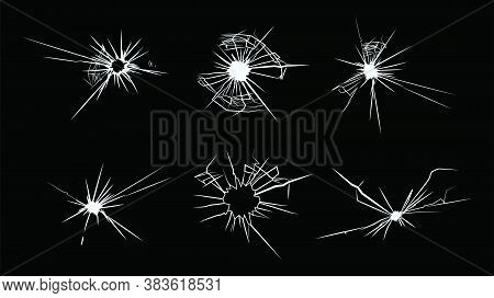 Broken Glass Flat Icon Set. White Cracks Of Destroyed Or Broken Window On Black Background Vector Il