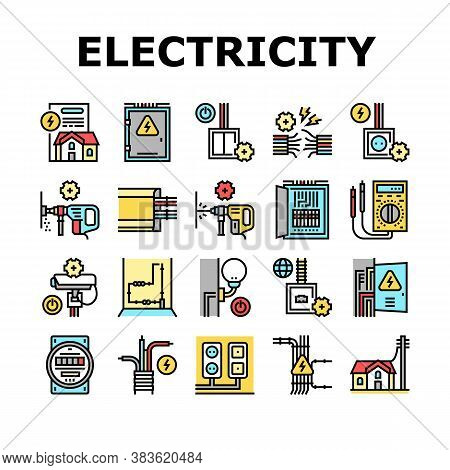 Electrical Installation Tool Icons Set Vector. Socket And Substation Automation Box Installation, Wa