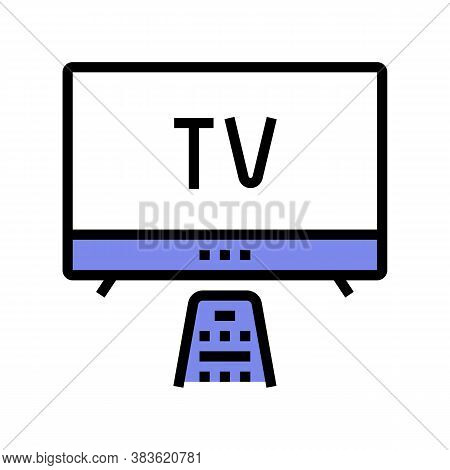 Watching Tv Color Icon Vector. Watching Tv Sign. Isolated Symbol Illustration