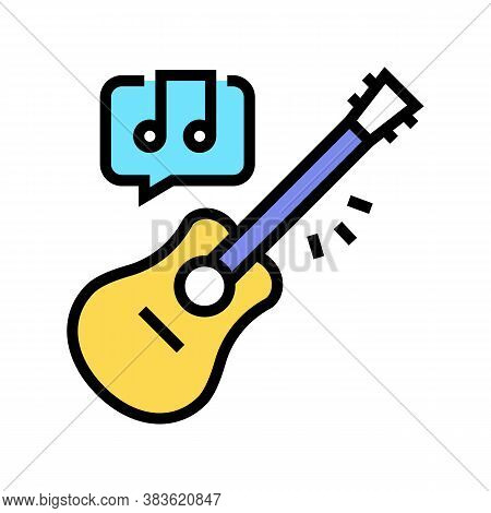 Playing On Guitar Color Icon Vector. Playing On Guitar Sign. Isolated Symbol Illustration