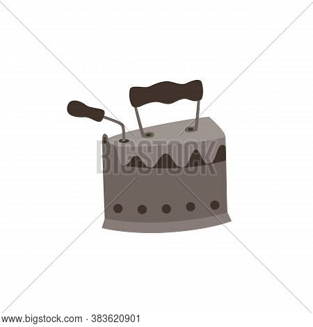 Vintage Cast Iron Tool For Clothing Ironing, Flat Vector Illustration Isolated.