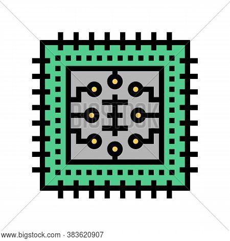 Micro Chip Color Icon Vector. Micro Chip Sign. Isolated Symbol Illustration