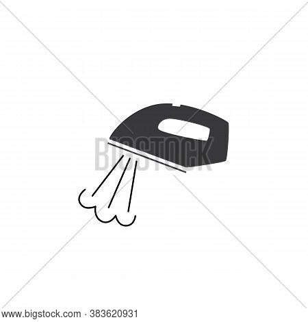 Hot Iron With Puff Of Steam - Black Icon Isolated On White Background.