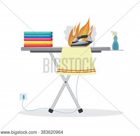 Forgotten Clothes Iron Burning On Ironing Board - Dangerous Fire