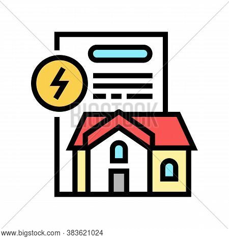 House Electricity Contract Color Icon Vector. House Electricity Contract Sign. Isolated Symbol Illus