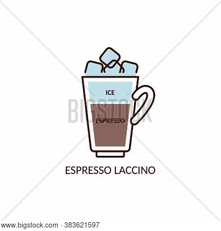 Espresso Laccino Recipe - Flat Icon Of Cafe Cup With Layer Of Crushed Ice
