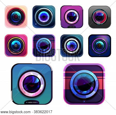 Photo And Video Camera Icons, Isolated Vector Photographer Equipment Graphic Design Elements, Digita