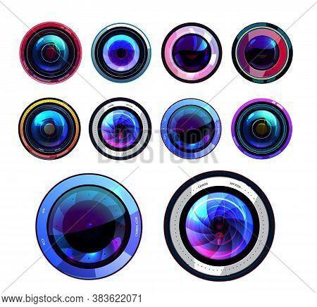 Camera Lens Isolated Vector Icons, 3d Photo Lenses Aperture, Cameras Shutter Focus, Digital Or Film