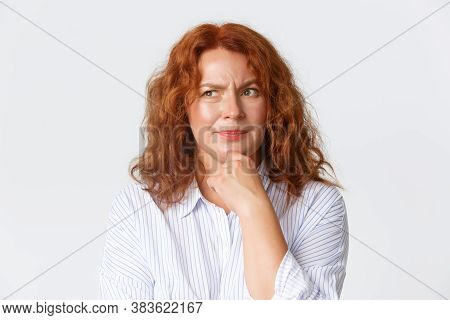 People, Emotions And Lifestyle Concept. Close-up Of Thoughtful Middle-aged Redhead Mother, Woman Mak