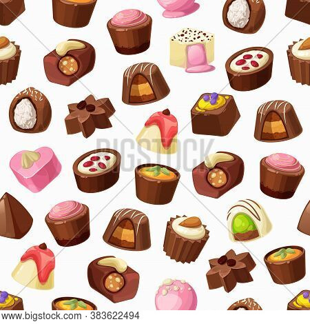 Chocolate Candies, Truffles And Praline Seamless Pattern. Vector Background Of Sweet Food And Chocol