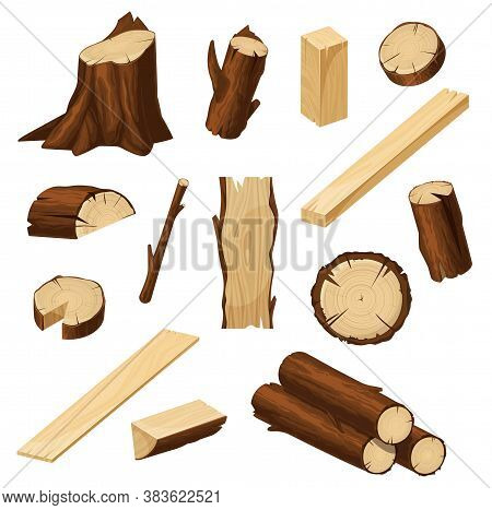 Timber Vector Set With Wood Logs, Chopped Tree Trunks, Stump With Bark And Firewood Pile, Lumber Cut