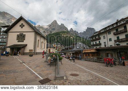 San Martino Di Castrozza, Italy - July 20, 2020: View Of The Historic Center Of San Martino Di Castr