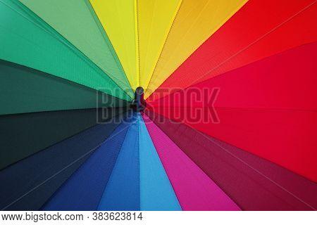 Colors Of Rainbow. Multicolored Umbrella Close-up. Rainbow Umbrella