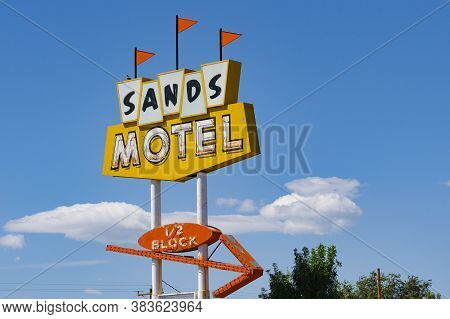 Grants Usa - September   20 2015; Sands Motel Sign Historic With Direction Arrow On Route 66 New Mex