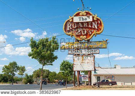 Grants Usa - September 20 2015; Historic Route 66, Neglected Tatty  Vintage Roaring 20s Liquor Store