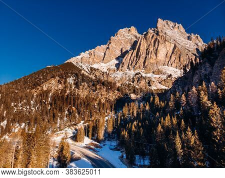 Sunrise In Dolomites Mountains South Tyrol, Italy. Aerial Top View