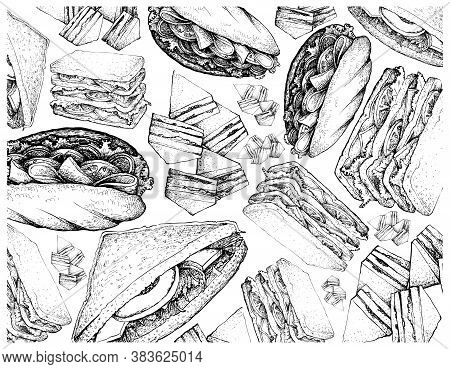 Illustration Hand Drawn Wall-paper Of Sketch Of Delicious Homemade Freshly Baguette Sandwiches And C