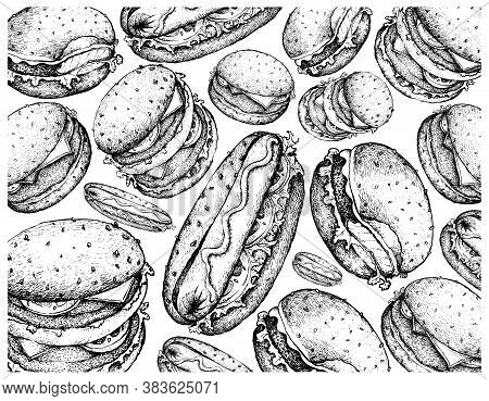 Illustration Wall-paper Of Hand Drawn Sketch Of Delicious Hamburgers And Hot Dogs Isolated On White