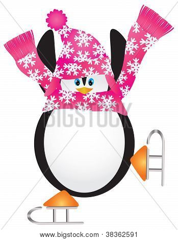 Christmas Penguin with Pink Hat and Scarf Ice Skating Doing the Pirouette Illustration poster