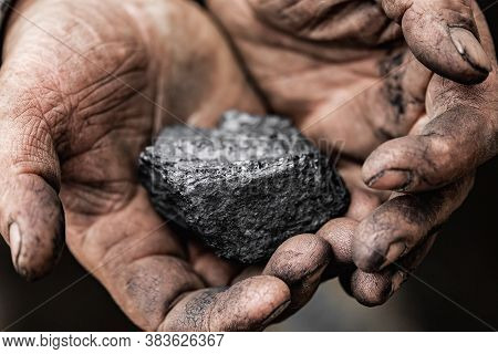 Closeup Miner Holds Coal Palm. Concept Mining, Top View