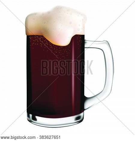 Isolated Image Of Dark Beer With Foam In A Glass Mug. Vector Realistic Illustration Of Beer Mug. Okt