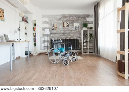 Wheelchair In Empty Room For Handicapped Patient In Private Hospital. No Patient In The Room In The