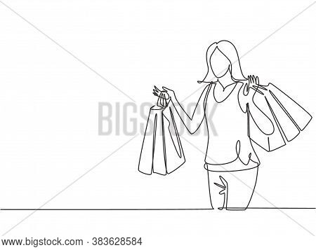 One Continuous Line Drawing Young Happy Beauty Woman Holding Many Paper Bags After Shopping Personal