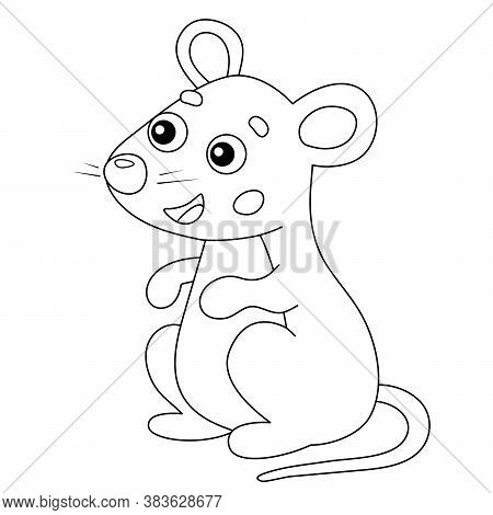 Coloring Page Outline Of Cartoon Mouse. Animals. Coloring Book For Kids.
