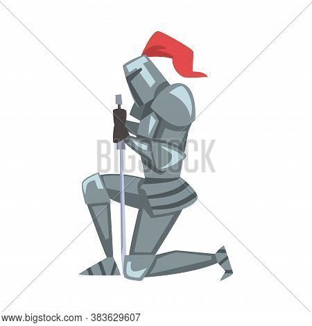 Medieval Kneeling Knight, Chivalry Warrior Character In Full Metal Body Armor With Sword Cartoon Sty