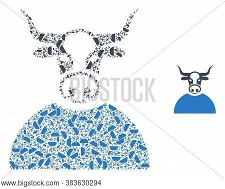 Vector Bull Person Collage Is Done From Randomized Recursive Bull Person Parts. Recursive Compositio