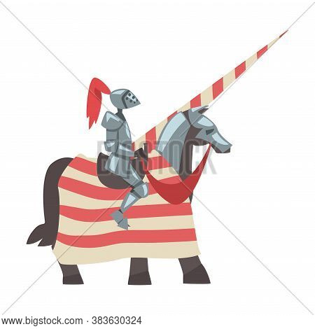Medieval Knight On Horseback With Spear, Chivalry Warrior Character In Full Metal Body Armor With Sh