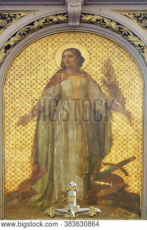 NEVINAC, CROATIA - OCTOBER 03, 2011: St. Catherine, the main altar in the church of Saint Catherine of Alexandria in Nevinac, Croatia