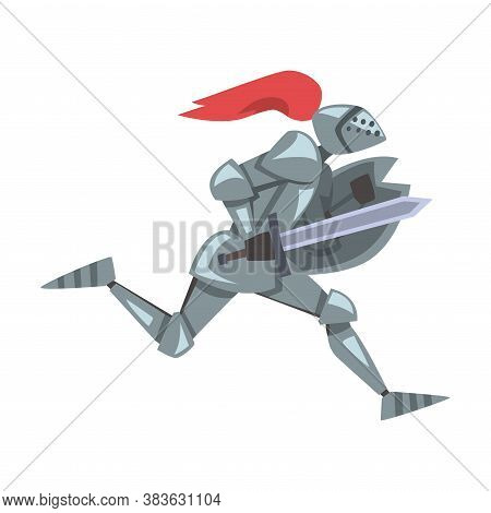 Side View Of Running Medieval Knight, Chivalry Warrior Character In Full Metal Body Armor With Shiel