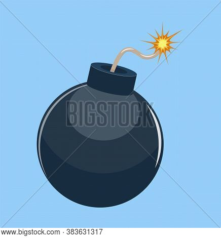 Cartoon Bomb Ready To Explode. Vector Illustration In Flat Style.