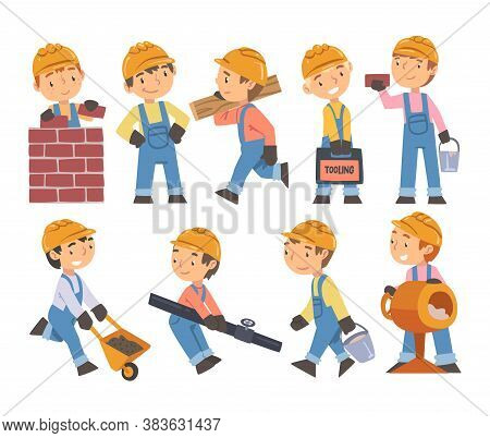 Boy Construction Workers With Professional Tools Set, Cute Little Builders Characters Wearing Blue O