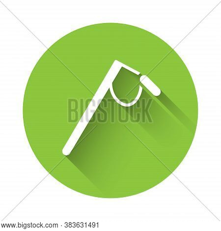 White Microphone Icon Isolated With Long Shadow. On Air Radio Mic Microphone. Speaker Sign. Green Ci