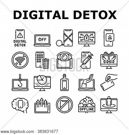 Digital Device Detox Collection Icons Set Vector. Wifi And Smartphone Crossed Out Mark, Off Screen L