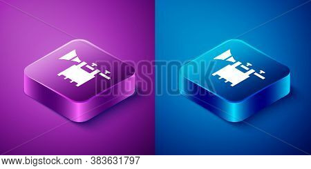 Isometric Trumpet With Flag Icon Isolated On Blue And Purple Background. Musical Instrument Trumpet.